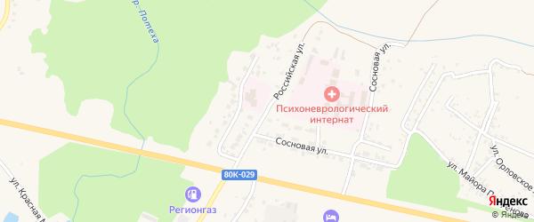 Российская улица на карте Благовещенска с номерами домов