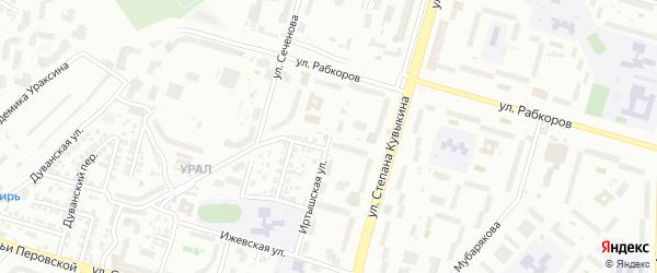 Иртышская улица на карте Уфы с номерами домов