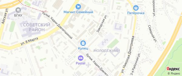 Заводская 1-я улица на карте Уфы с номерами домов