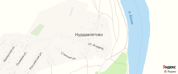 Улица Агидель на карте деревни Нурдавлетово с номерами домов