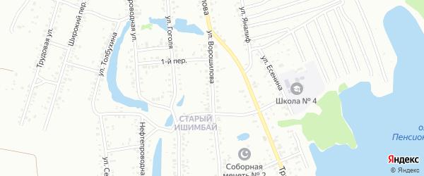 Улица Ворошилова на карте Ишимбая с номерами домов