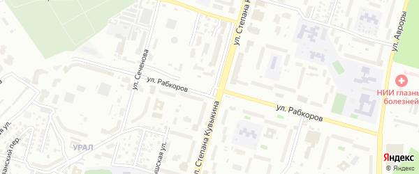 Улица Рабкоров на карте Уфы с номерами домов