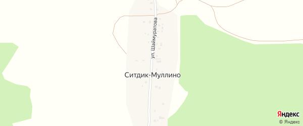 Улица Шаймуратова на карте деревни Ситдик-Муллино с номерами домов
