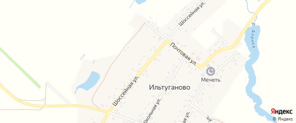 Шоссейная улица на карте села Ильтуганово с номерами домов