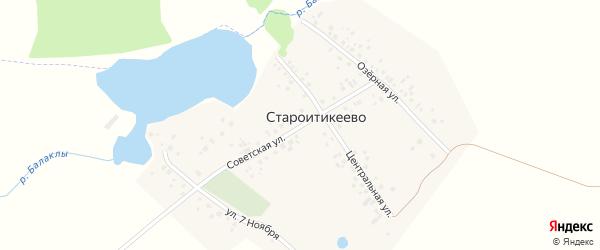 Советская улица на карте деревни Староитикеево с номерами домов