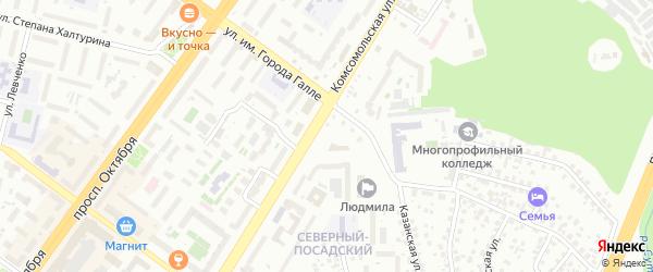 Районная улица на карте Уфы с номерами домов
