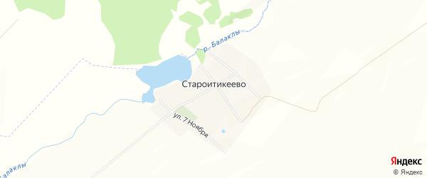 Карта деревни Староитикеево в Башкортостане с улицами и номерами домов