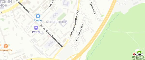Улица Николая Дмитриева на карте Уфы с номерами домов