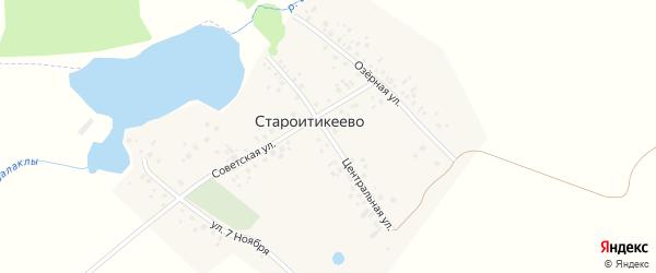 Центральная улица на карте деревни Староитикеево с номерами домов