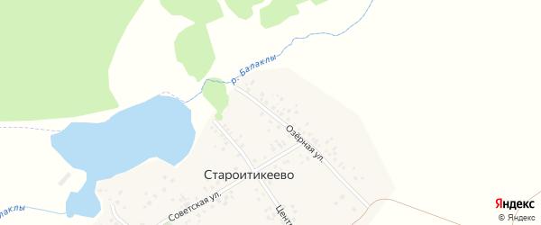 Озерная улица на карте деревни Староитикеево с номерами домов