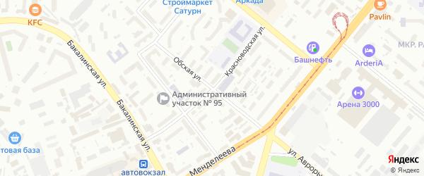 Обская улица на карте Уфы с номерами домов
