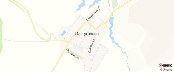 Карта села Ильтуганово в Башкортостане с улицами и номерами домов