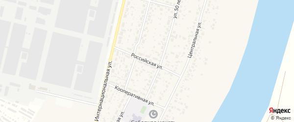 Российская улица на карте деревни Алексеевки с номерами домов