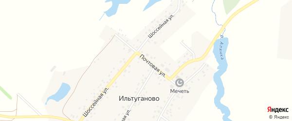 Почтовая улица на карте села Ильтуганово с номерами домов