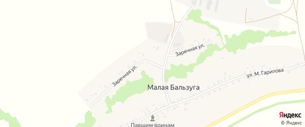 Заречная улица на карте деревни Малой Бальзуги с номерами домов
