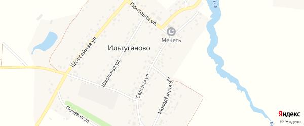 Садовая улица на карте села Ильтуганово с номерами домов