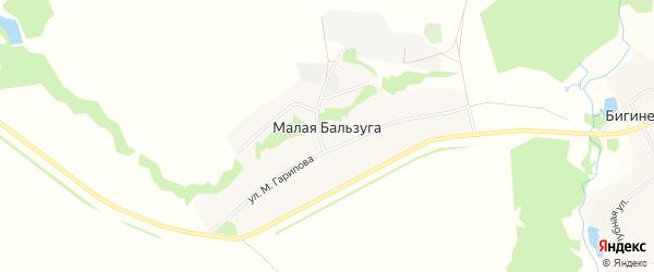 Карта деревни Малой Бальзуги в Башкортостане с улицами и номерами домов