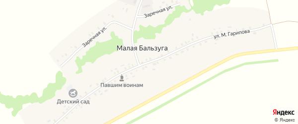 Улица М.Гарипова на карте деревни Малой Бальзуги с номерами домов