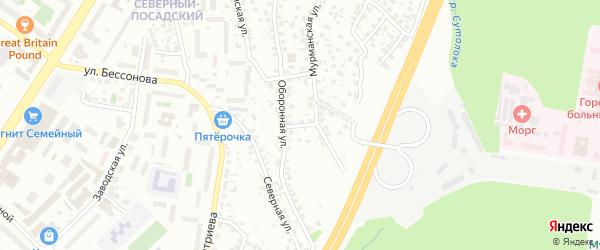 Оборонный переулок на карте Уфы с номерами домов