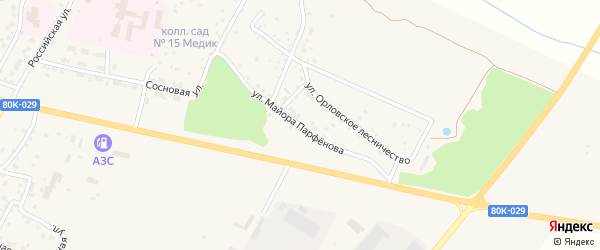 Улица Майора Парфенова на карте Благовещенска с номерами домов