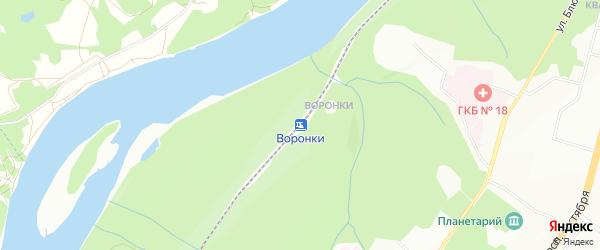 Карта станции Воронки города Уфы в Башкортостане с улицами и номерами домов