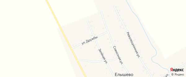 Улица Дружбы на карте деревни Елышево с номерами домов