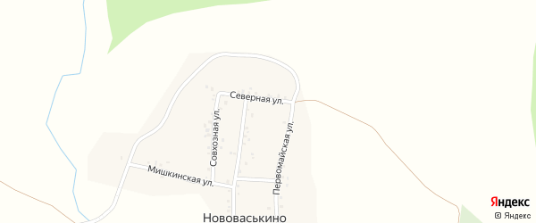 Северная улица на карте деревни Нововаськино с номерами домов