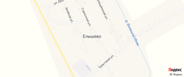 Совхозная улица на карте деревни Елышево с номерами домов