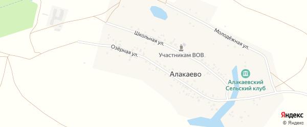 Озёрная улица на карте деревни Алакаево с номерами домов