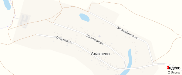 Школьная улица на карте деревни Алакаево с номерами домов