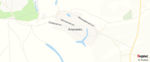 Карта деревни Алакаево в Башкортостане с улицами и номерами домов