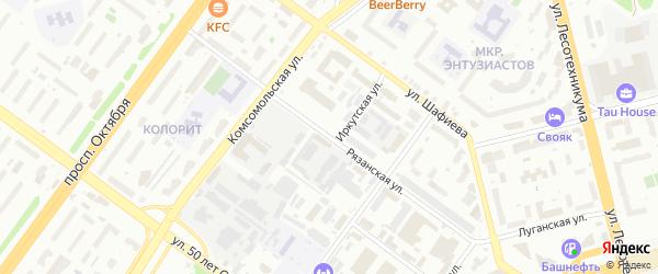 Рязанская улица на карте Уфы с номерами домов