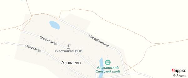 Молодёжная улица на карте деревни Алакаево с номерами домов