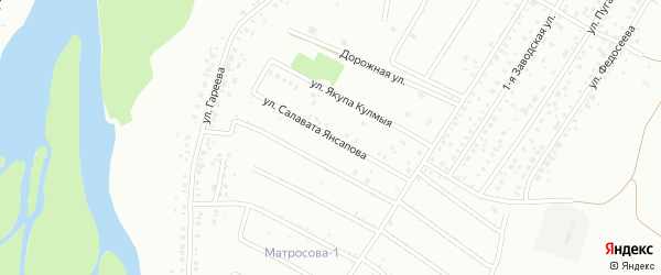 Улица С.Янсапова на карте Ишимбая с номерами домов