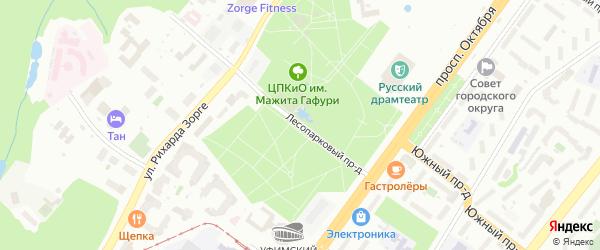 Лесопарковый проезд на карте Уфы с номерами домов