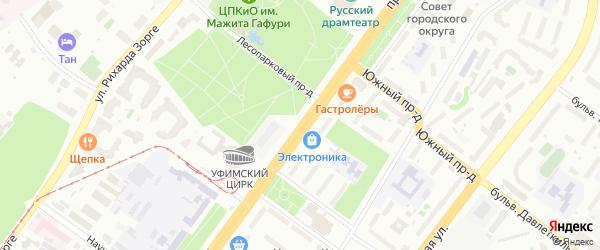 Проспект Октября на карте Уфы с номерами домов