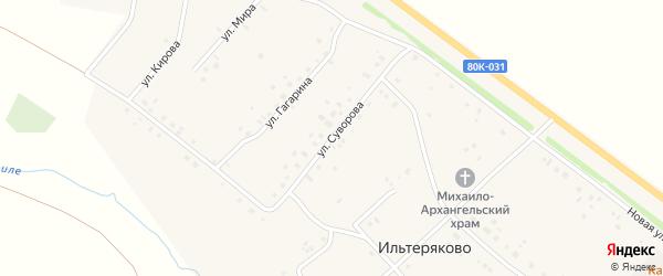 Улица Суворова на карте села Ильтеряково с номерами домов