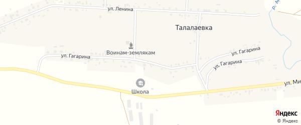 Улица Гагарина на карте села Талалаевки с номерами домов