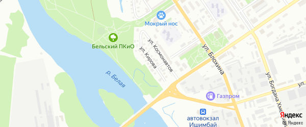 Улица Кирова на карте Ишимбая с номерами домов