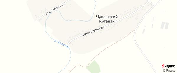 Малыгинская улица на карте деревни Чувашского Куганака с номерами домов