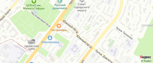Южный проезд на карте Уфы с номерами домов