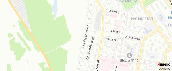 Береговая 1-я улица на карте Ишимбая с номерами домов