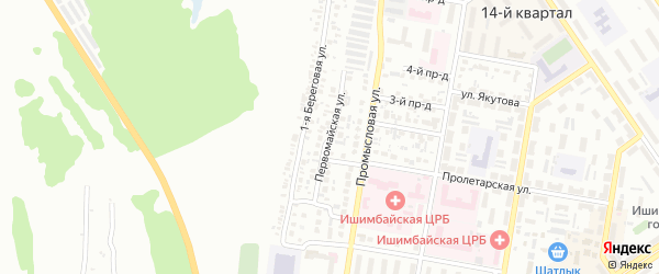 Первомайская улица на карте Ишимбая с номерами домов