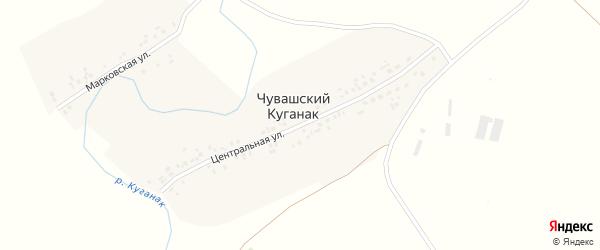 Центральная улица на карте деревни Чувашского Куганака с номерами домов