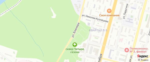 Улица Блюхера на карте Уфы с номерами домов
