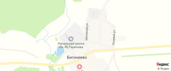 Школьная улица на карте деревни Бигинеево с номерами домов