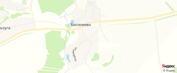Карта деревни Бигинеево в Башкортостане с улицами и номерами домов
