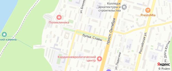 Бульвар Славы на карте Уфы с номерами домов