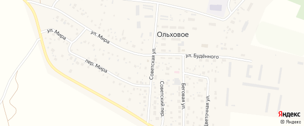 Советская улица на карте Ольхового села с номерами домов