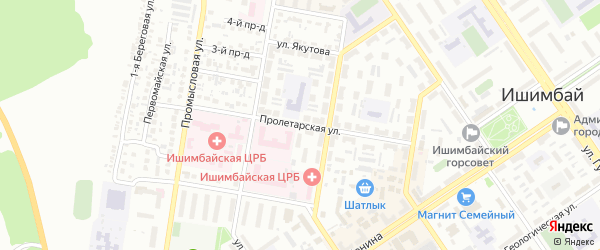 Пролетарская улица на карте Ишимбая с номерами домов